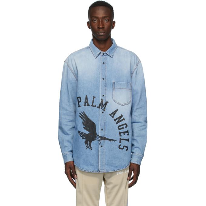 Palm Angels ブルー デニム College Eagle シャツ