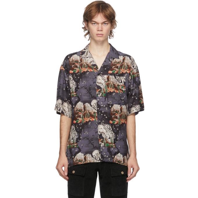 Palm Angels Downs PALM ANGELS MULTICOLOR SKULLS BOWLING SHORT SLEEVE SHIRT