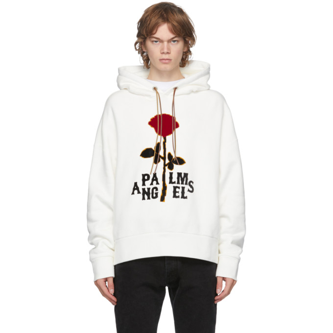 Palm Angels PALM ANGELS OFF-WHITE RED ROSE HOODIE