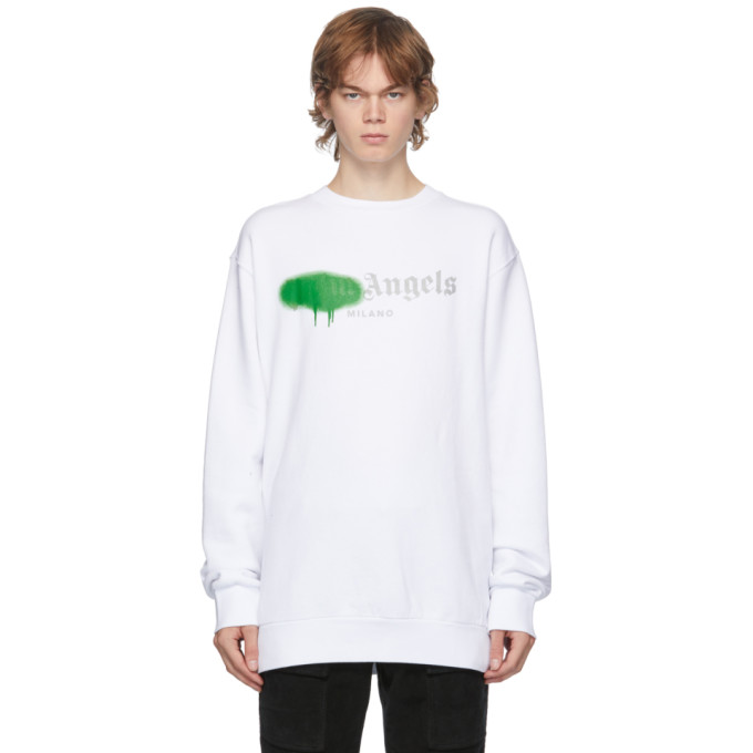 Palm Angels PALM ANGELS WHITE AND GREEN MILANO LOGO SPRAYED SWEATSHIRT