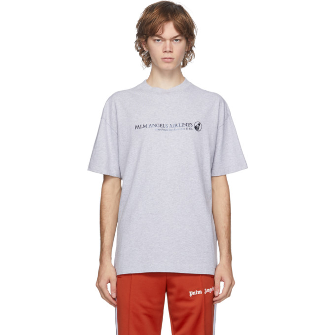Palm Angels PALM ANGELS GREY PALM AIRLINES T-SHIRT