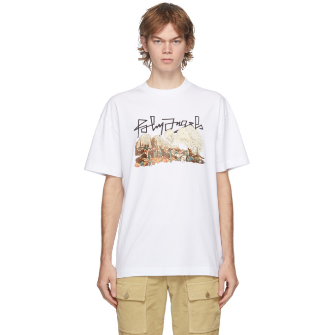 Palm Angels Cottons PALM ANGELS WHITE DESERT SKULL T-SHIRT