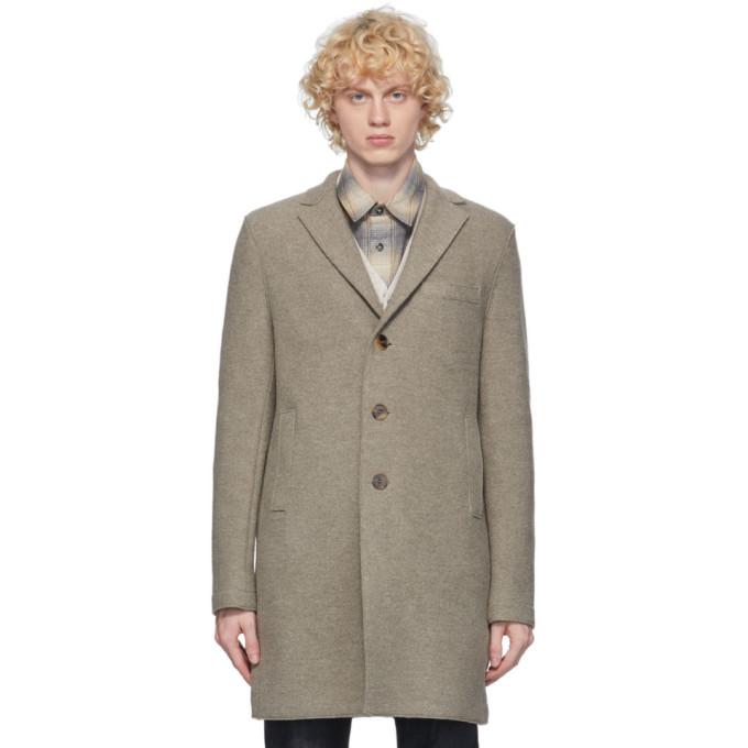 グレー プレス ウール ボクシー コート
