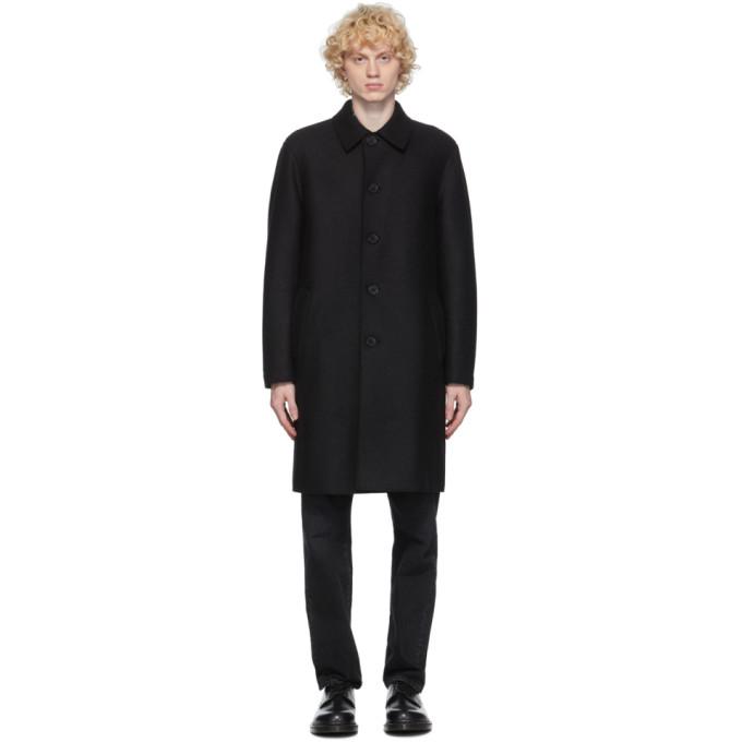 ブラック プレス ウール マック コート