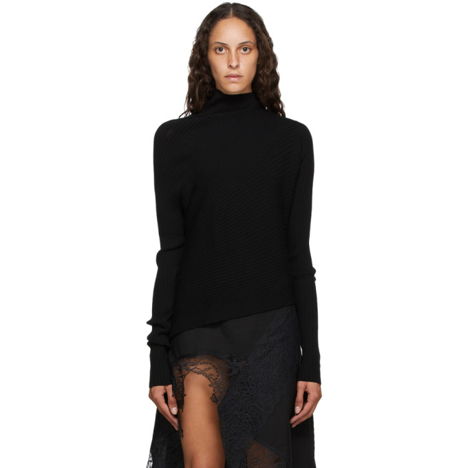 Marques' Almeida MARQUES ALMEIDA BLACK RIB KNIT ASYMMETRIC TURTLENECK