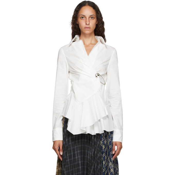 Marques Almeida Chemise en popeline blanche Safety Pin