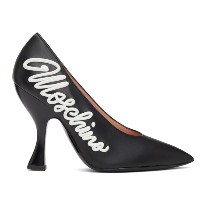Moschino Black Calfskin Icing Logo Heels  - buy with discount