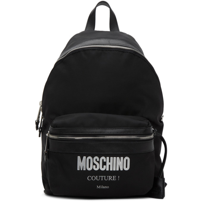 MOSCHINO BLACK CANVAS 'COUTURE!' BACKPACK