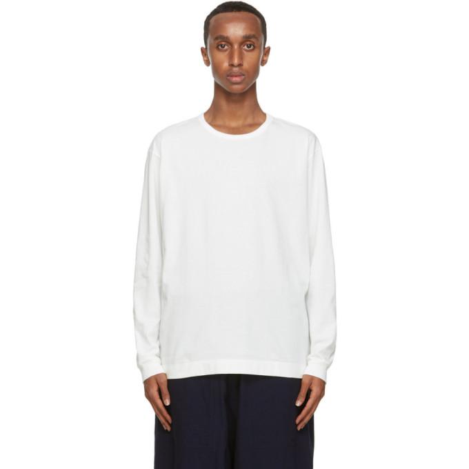 Issey Miyake Men T-shirt a manches longues en coton blanc