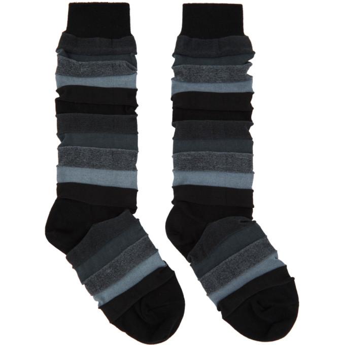 Issey Miyake Men Chaussettes noires Short Stepborder
