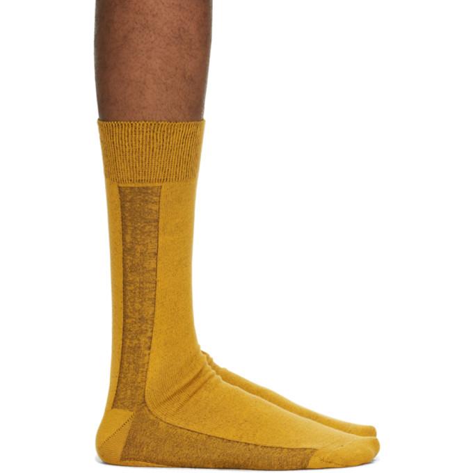Issey Miyake Men Chaussettes jaunes Border