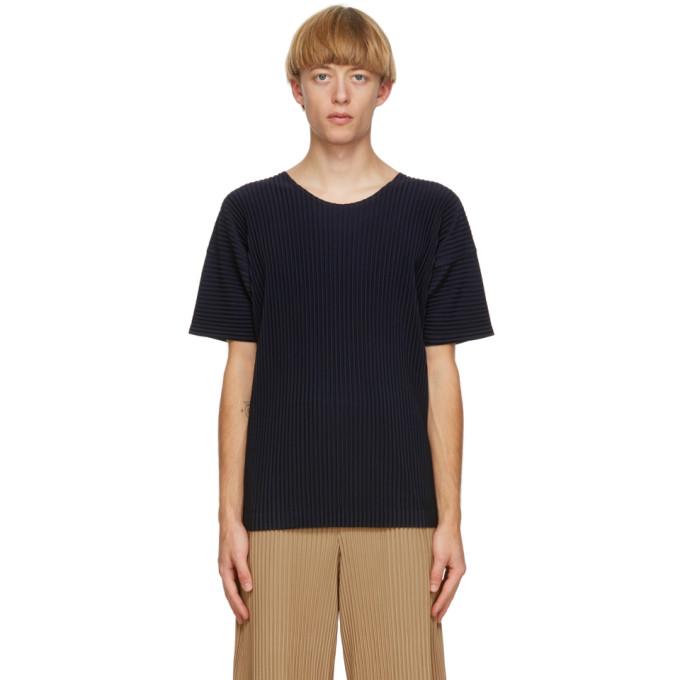 Homme Plisse Issey Miyake T-shirt a col ras du cou bleu marine