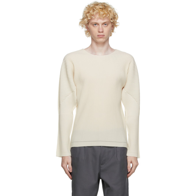 Homme Plisse Issey Miyake T-shirt a manches longues blanc casse A-POC