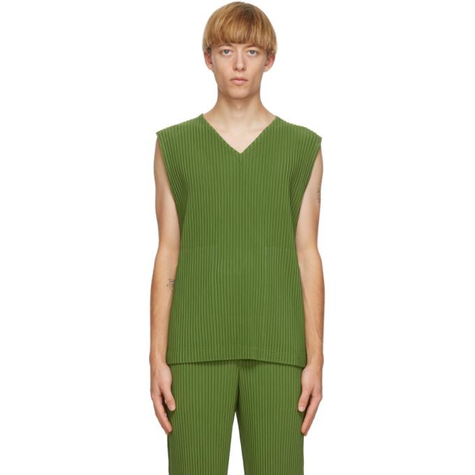 Homme Plisse Issey Miyake Debardeur vert Colorful Pleats