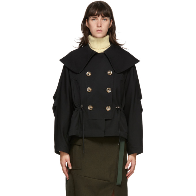 Enfold Enfold Black Big Collar Jacket