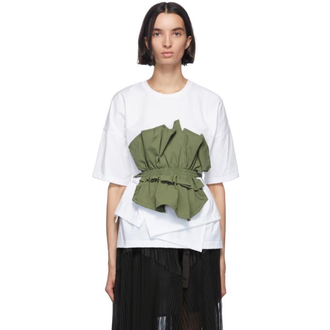 Enfold T-shirt kaki et blanc Cut Layered