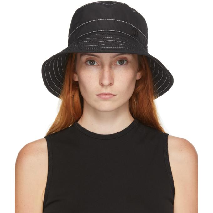 Maison Michel Hats MAISON MICHEL BLACK AND WHITE TOPSTITCHED CHARLOTTE BUCKET HAT