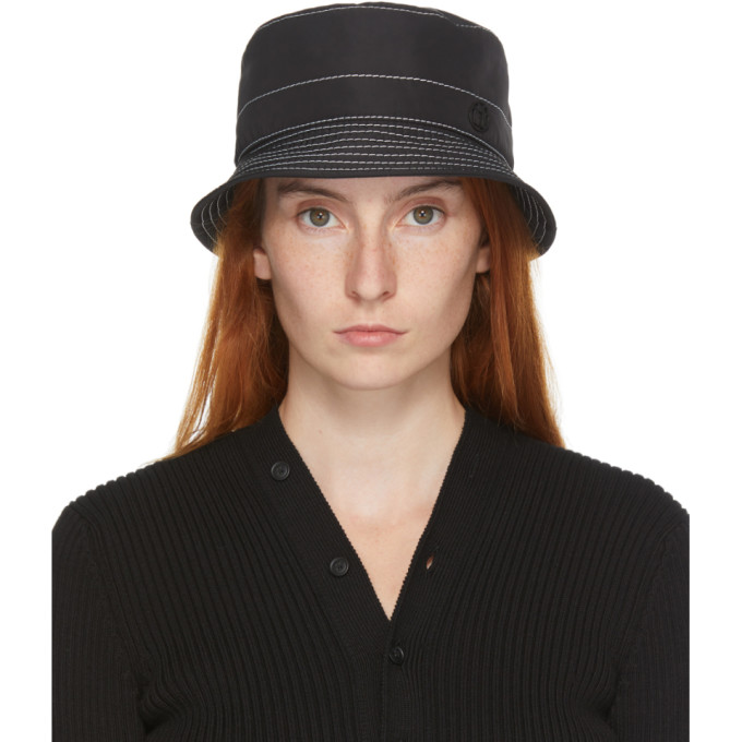 Maison Michel Hats MAISON MICHEL BLACK AND WHITE TOPSTITCHED AXEL BUCKET HAT