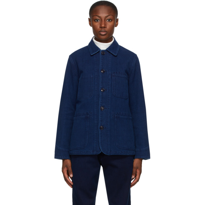 Blue Blue Japan BLUE BLUE JAPAN NAVY WASHED SASHIKO COVERALL JACKET