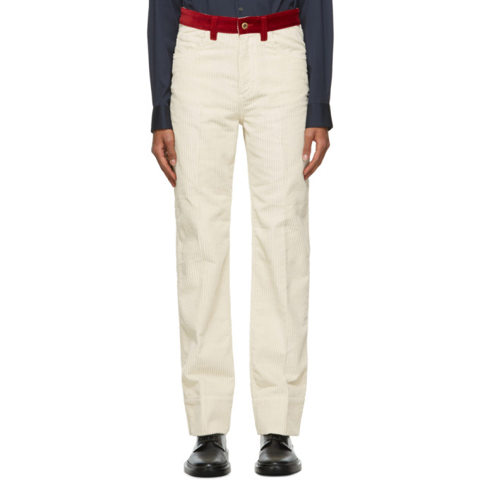 Wales Bonner WALES BONNER OFF-WHITE AND RED CORDUROY JEANS