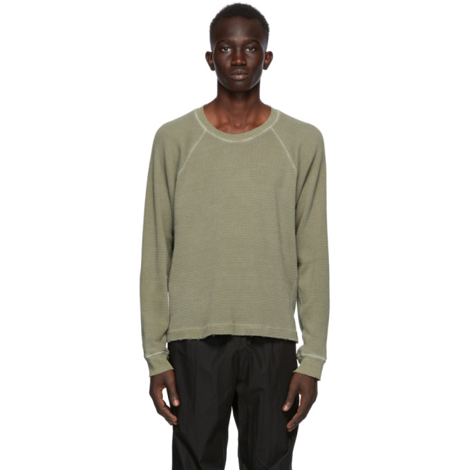 John Elliott Khaki Thermal Long Sleeve T-Shirt  - buy with discount