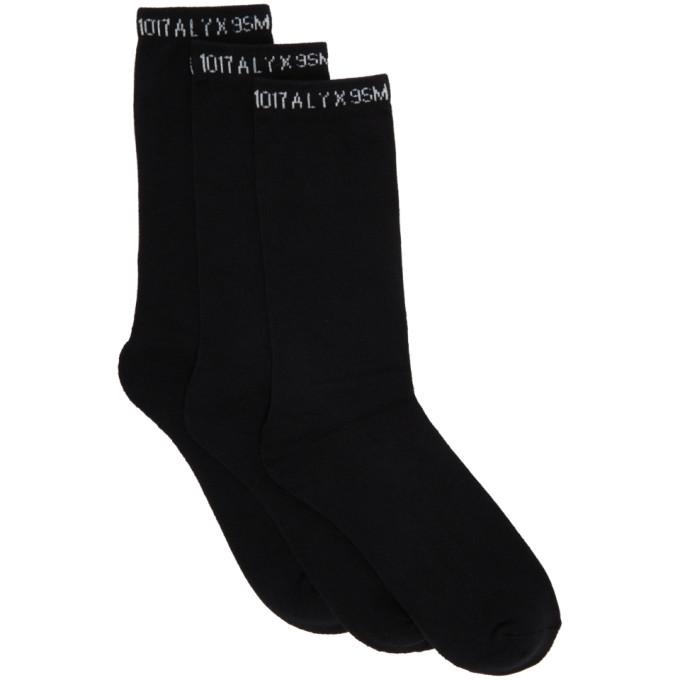 1017 ALYX 9SM Three Pack Black Logo Socks 202776F07606001