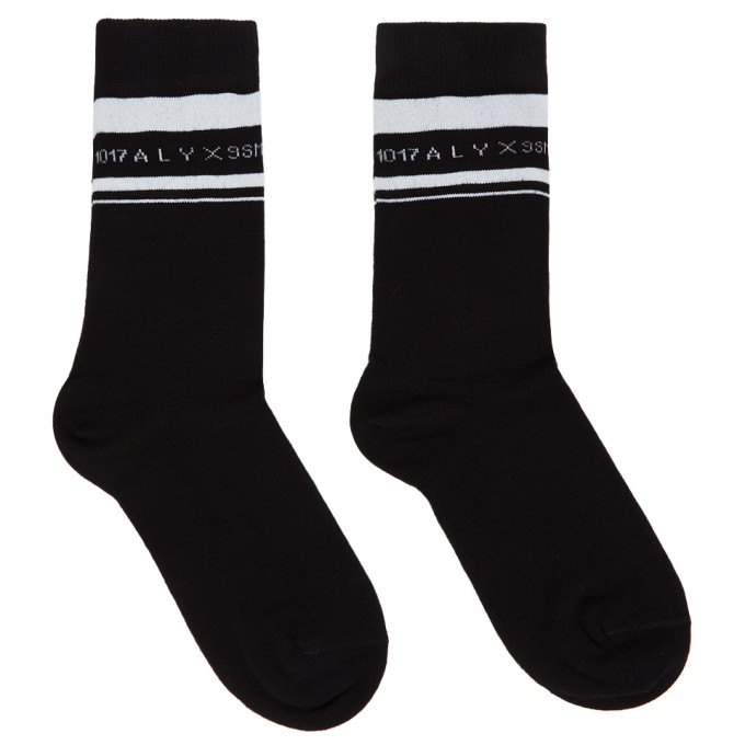 1017 ALYX 9SM Black and White Horizontal Stripe Socks 202776F07606201