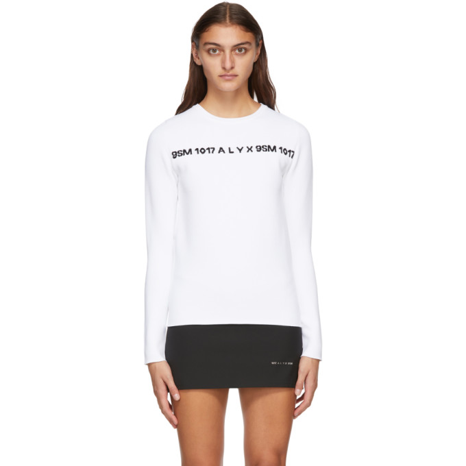 1017 ALYX 9SM White and Black 3D Logo Sweater 202776F09609405