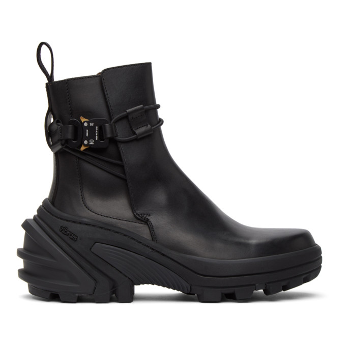 Black Buckle Fixed SKX Sole Chelsea Boots