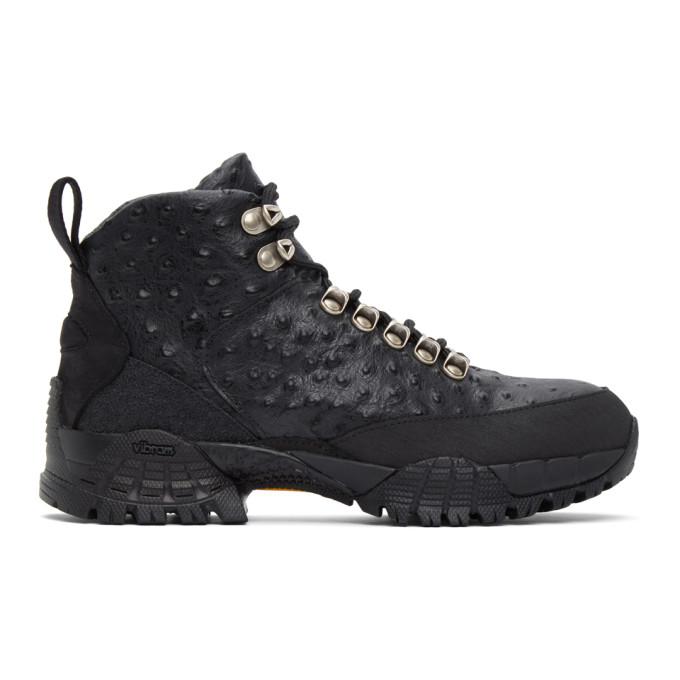 1017 ALYX 9SM Black Ostrich Hiking Boots 202776F11301602