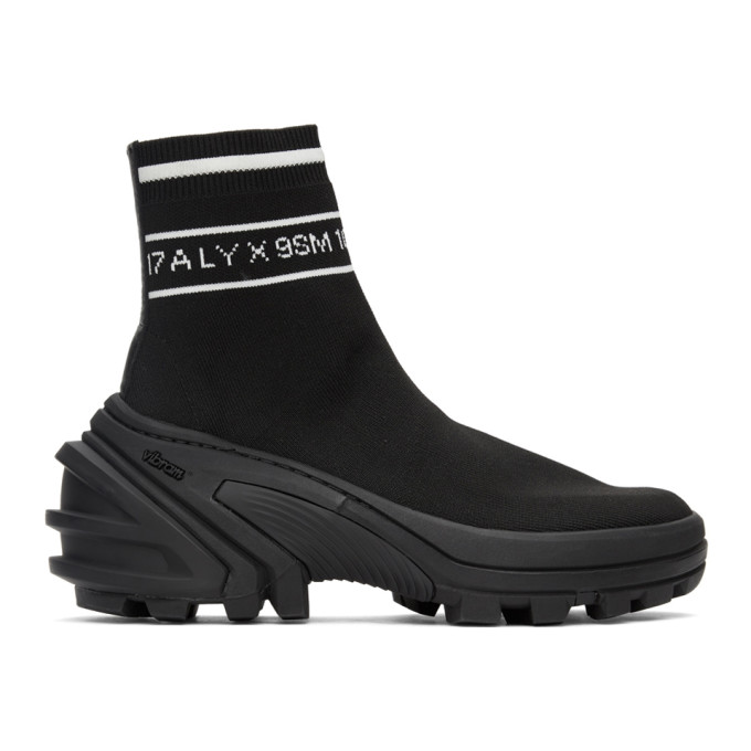 Alyx 1017 ALYX 9SM BLACK KNIT LOGO HIGH-TOP SNEAKERS