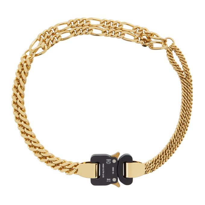 1017 ALYX 9SM Gold Triple Chain Buckle Necklace 202776M14512001