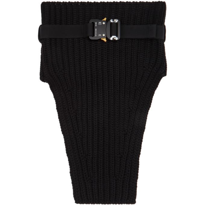 1017 ALYX 9SM Black Knit Buckle Neck Warmer Scarf 202776M15015301