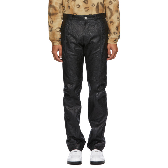 1017 ALYX 9SM Black Leather Ostrich Cage Pants 202776M18903202