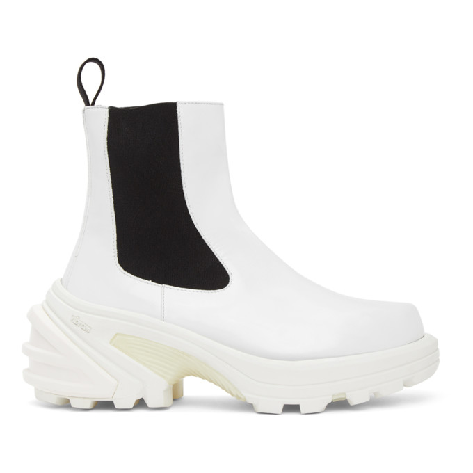 1017 ALYX 9SM White Leather Chelsea Boots 202776M22308406