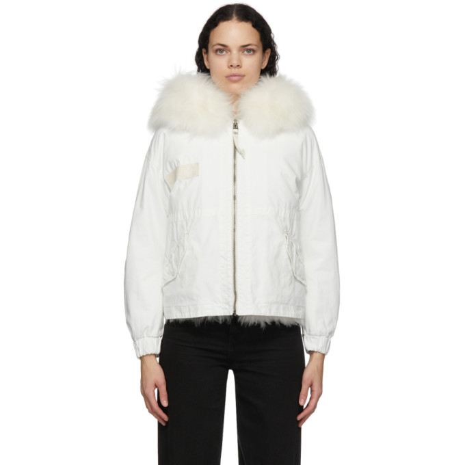 Mr & Mrs Italy MR AND MRS ITALY WHITE FUR PARKA JACKET