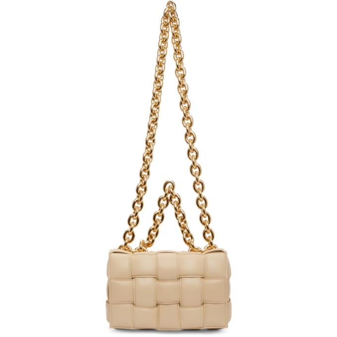 Bottega Veneta Leathers BOTTEGA VENETA BEIGE THE CHAIN CASSETTE BAG