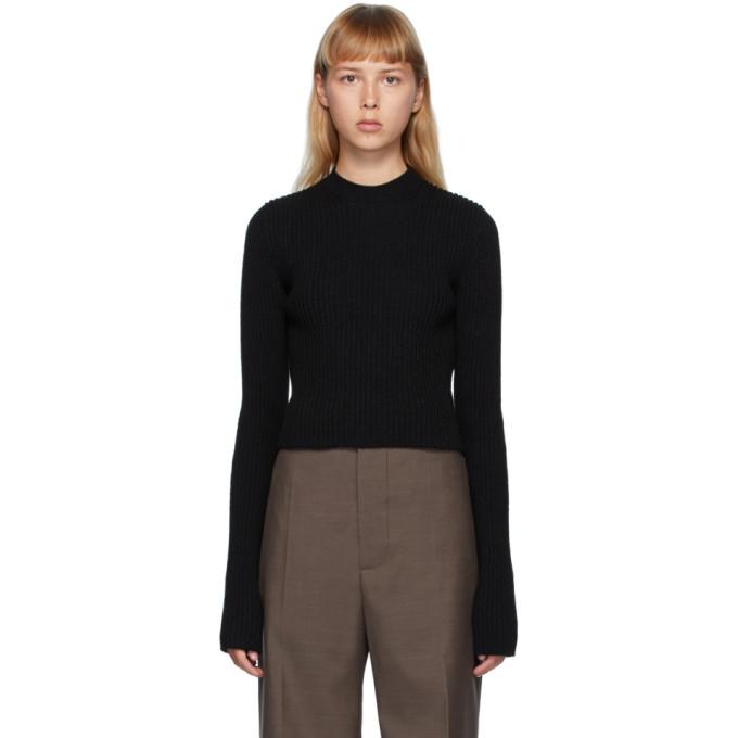 Bottega Veneta 黑色罗纹圆领针织衫