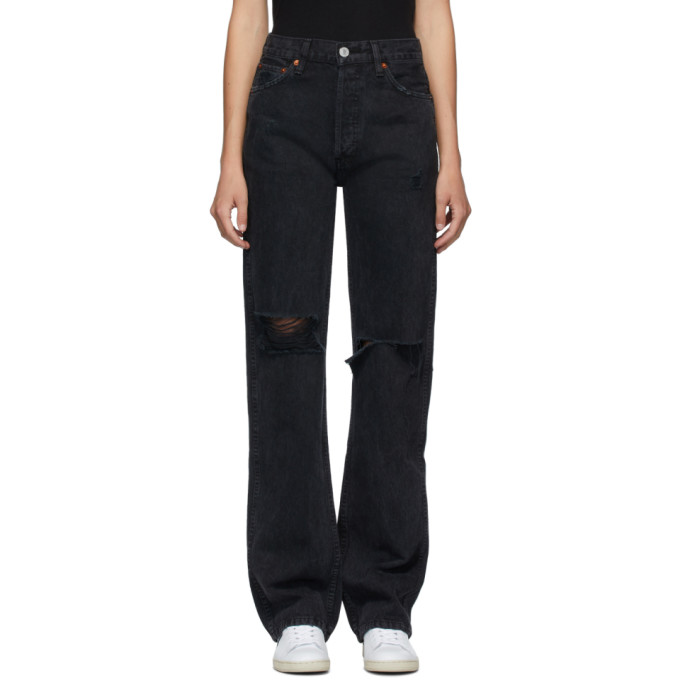 Re/done RE/DONE BLACK HIGH-RISE LOOSE JEANS