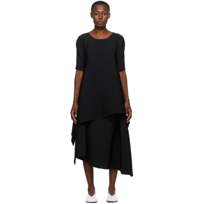Issey Miyake Black Pleated Bits Dress In 15 Black