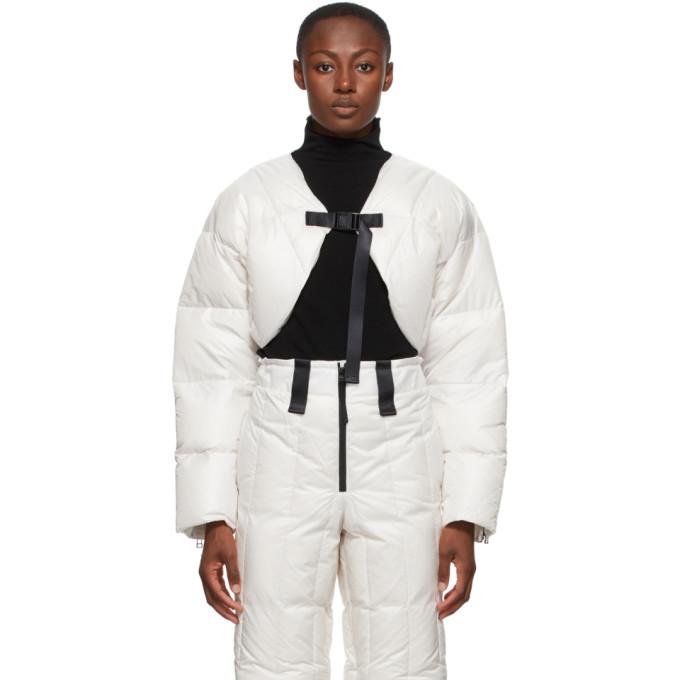 Issey Miyake Blouson ecourte en duvet blanc Transform