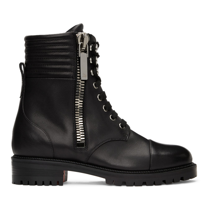 Christian Louboutin CHRISTIAN LOUBOUTIN BLACK LEATHER EN HIVER ANKLE BOOTS