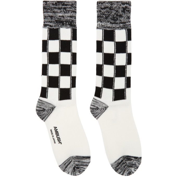Ambush Black And White Long Check Socks