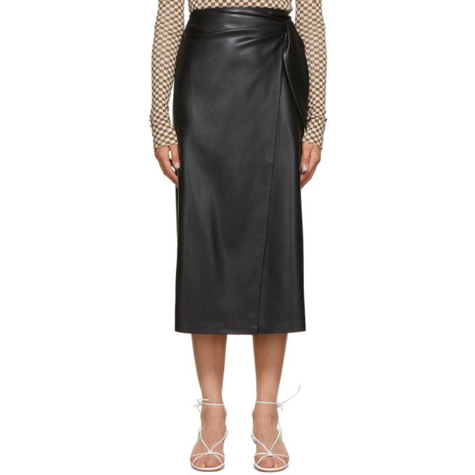 Nanushka NANUSHKA BLACK VEGAN LEATHER AMAS WRAP SKIRT