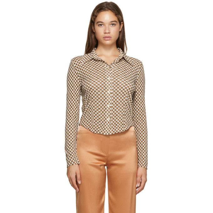 Nanushka NANUSHKA BROWN CHECKED MESH-JERSEY ALICE SHIRT