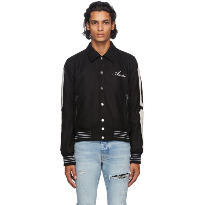 Amiri Bomber jackets AMIRI BLACK CHENILLE BONES BOMBER JACKET