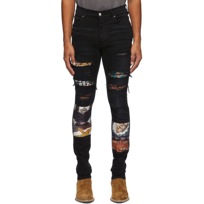 Amiri BLACK SCARVES ART PATCH JEANS
