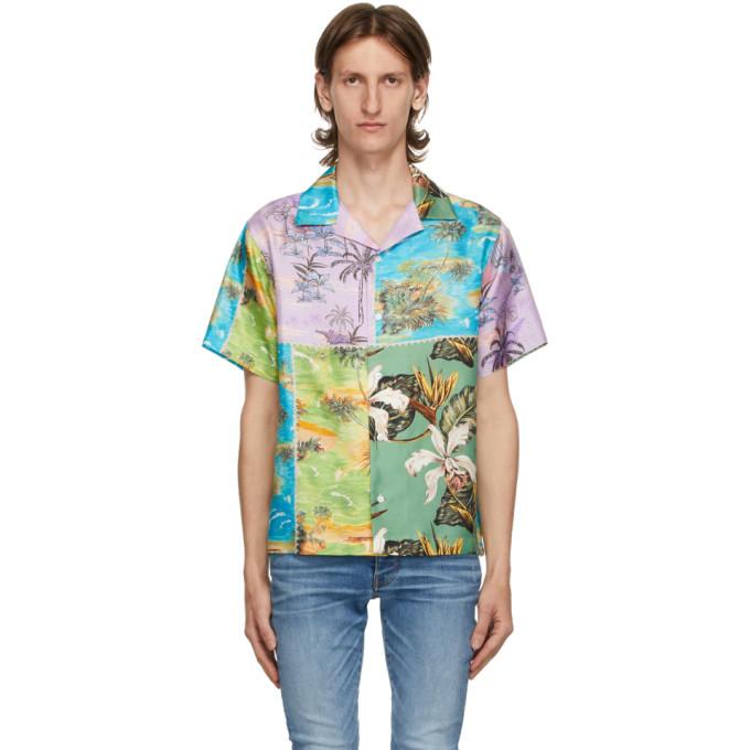 Amiri Chemise hawaienne a manches courtes en soie mauve et verte Patchwork