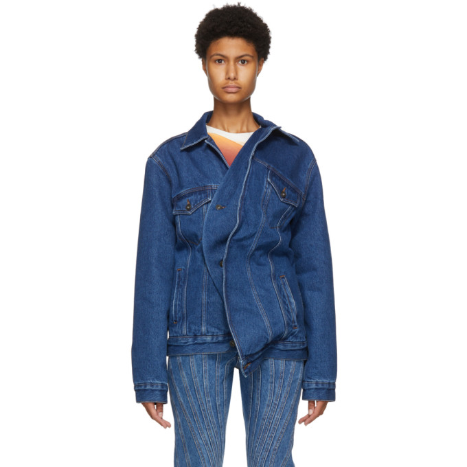 Y/project Denims Y/PROJECT BLUE DENIM TWISTED JACKET
