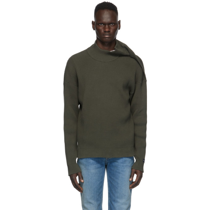 Y/project Y/PROJECT GREEN CLIPPED SHOULDER TURTLENECK
